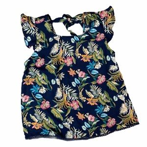 TWINE & STRING floral blouse with tie back